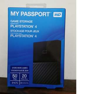 PS4 game add-on storage 2TB by WD sony PlayStation 4 external hard drive