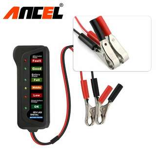 12V Motorcycle LED Digital Battery/Coil Tester with 6 LED Display Indicator