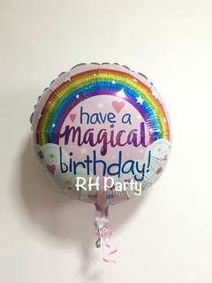 (12/6) Include Helium Happy Birthday Magical Rainbow Colourful foil balloon (Holographic Glitter)