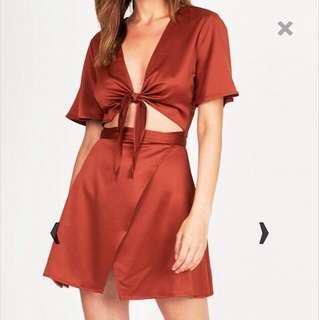 Rusty Silk Tie Front Wrap Dress | General Pants Co
