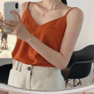 四色/推薦橘色好燒呀 立體剪裁緞面料細肩帶背心