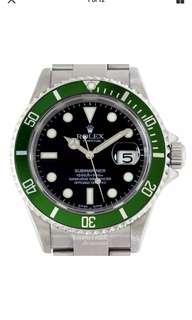 勞力士2003年50週年紀念版綠水鬼平頭四 Rolex Submariner Mens Watch 16610LV Flat 4