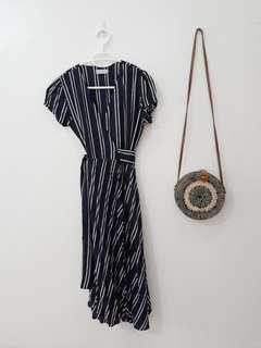 Wrap Dress in Striped Print