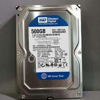 3.5吋500G桌上型硬碟 WD5000AAKS SATA 保存良好 極新 測試完美良品 無壞軌 無雜音 無生鏽 台北捷運可面交 立即出貨 可附二手SATA線乙條