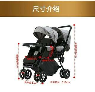 In stock/Double Stroller/extended style baby stroller /baby pram