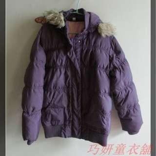 二手UNI QLO紫色羽絨連帽外套      140Cm