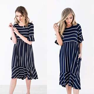 Stripes Ruffle Dress
