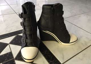 LIKE NEW! Sneaker style buckle wedge heels (suits festivals, cosplaying etc)
