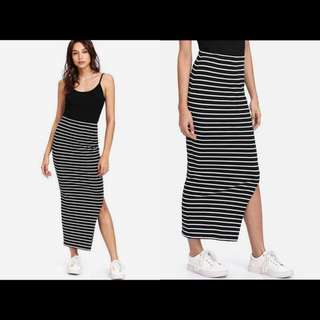 Nonsleeves Stripes Long Dress
