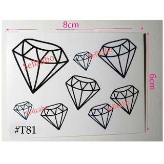 #T81 Fake Temporary Body Tattoo Stickers Washable Wash Off Print Sellzabo Black Colour Patterns Designs Tatoo Tatto Tattoo Accessories Diamonds Crystals Gems Jewels