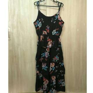 Floral Black Midi Sunday Summer Dress