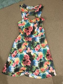 Floral Dress with front cutout