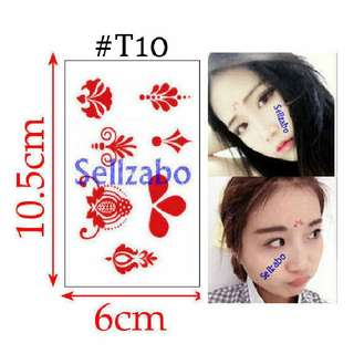 #T10 Fake Temporary Body Tattoo Stickers Washable Wash Off Print Sellzabo Red Colour Patterns Designs Tatoo Tatto Tattoo Accessories Frontlet Foreheads Dancers