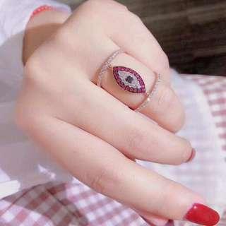 香港預展 18k紅寶鑽石戒指