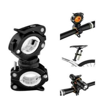 White RockBros Bicycle Light Bracket Clip Flashlight Stand Rotatable Front Lamp Holder Black White