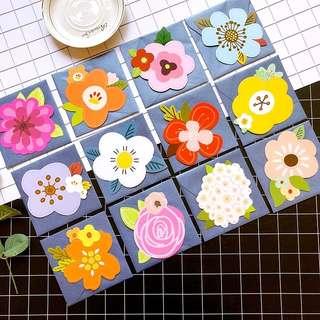 (Pre-order) 12 pieces Mini Flower Greeting Card envelope set