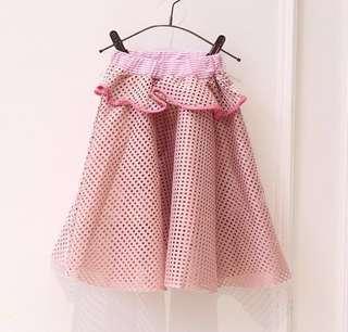 女童春秋夏裝-荷葉邊木耳邊鏤空洞洞似格紋半身裙蓬蓬裙公主短裙中長裙 13碼