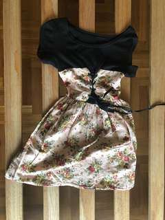 Pink & Black Floral Dress XXS/Kids/Teens