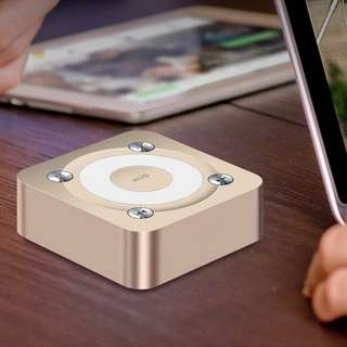 Wireless Stereo Square Portable Bluetooth Speaker with Handsfree Speakerphone Built-in Micro TF card slot, Gold