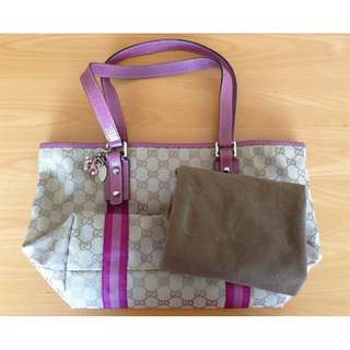 Gucci Jolicoeur Pink Tote Shoulder Bag Medium authentic