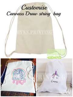 Customise draw string canvass bag