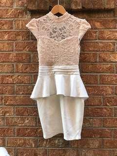 Champagne lace white peplum dress