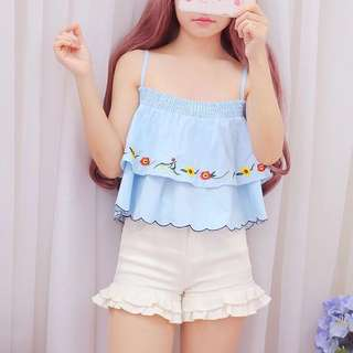 🚚 [PO] babydoll embroidered top