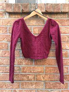 Burgundy V neck crop top
