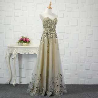 Pre order grey nude diamond wedding bridal prom dress gown  RBP0757