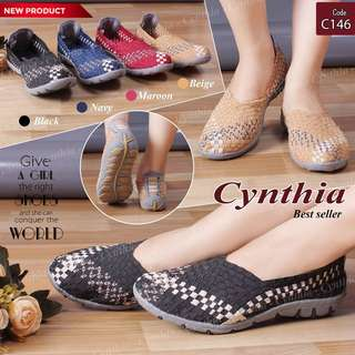 Sepatu Anyam / Sepatu Rajut Cynthia Flat C146