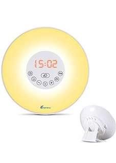 (96) Vansky Sunrise Wake Up Light, Digital Alarm Clock Multi-Colorful Night Light Bedside Lamp With Nature Sounds, FM Radio, Brightness Adjustable- Touch Control