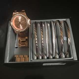 Rose gold watch set