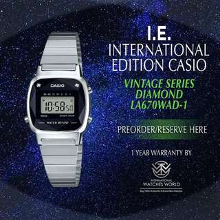CASIO INTERNATIONAL EDITION VINTAGE SERIES LADIES SILVER MADE IN JAPAN W DIAMOND LA670WAD-1
