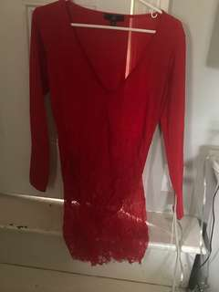 Red bodysuit dress