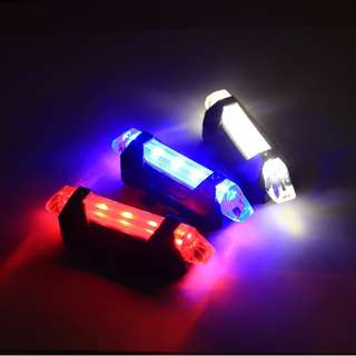 Red/White/Blue Bright LED Tail Light Rechargable Waterproof