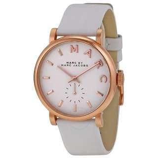 Marc by Marc Jacobs 女裝皮帶白色玫瑰金錶面手錶