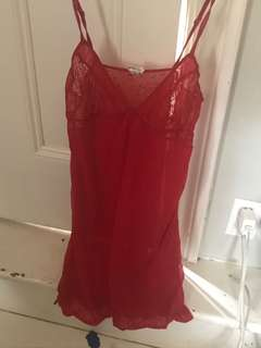 Red lace CK dress
