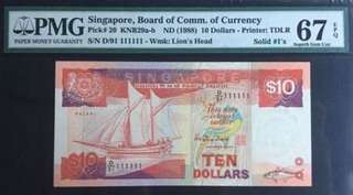 Singapore $10 Ship Series Fancy number
