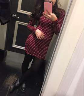 Maroon stripe bodycon dress