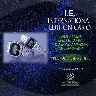 CASIO INTERNATIONAL EDITION VINTAGE SERIES SILVER MADE IN JAPAN W DIAMOND COUPLE A159WAD-1 AND LA670WAD-1