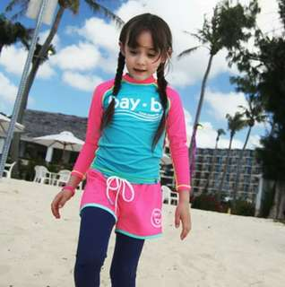 韓版可愛兒童女童長袖防曬泳衣三件組女童泳裝