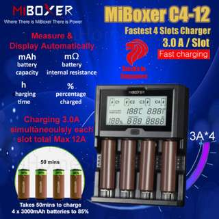 MiBoxer C4-12 3.0A Per Slot Fast Smart Charger With UK Plug - 18650,  26650, 4 Slots Battery Charger