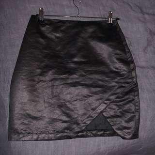 BNWT Super Asymmetrical Mini Skirt Crackle Black