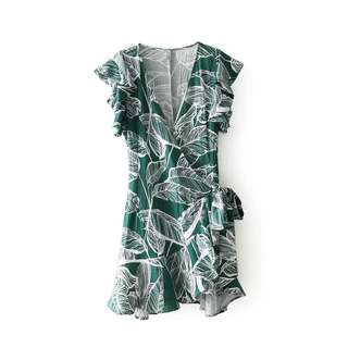 🚚 [PO] tropics leaf wrap dress