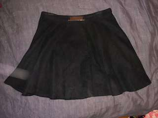 Imprint Gold Detail Belt Black Suede Mini Skater Skirt