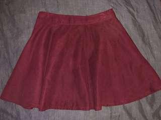Imprint Maroon/Burgandy/Red Suede Mini Skater Skirt