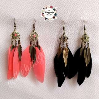 Vintage Boho Feather Dangling Earrings