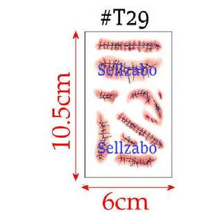 #T29 Fake Temporary Body Tattoo Stickers Washable Wash Off Print Sellzabo Red Colour Patterns Designs Tatoo Tatto Tattoo Accessories Blood Bloody Scars Cuts Bites Wounds Bleeds Bleedings Stitches Stitching Halloween Vampires