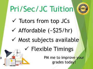 Primary/Secondary/JC Private Home Tuition