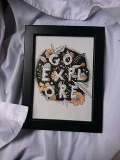 framed watercolour typography